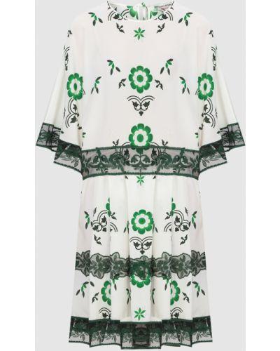 Бежевое шелковое платье мини Ermanno Scervino