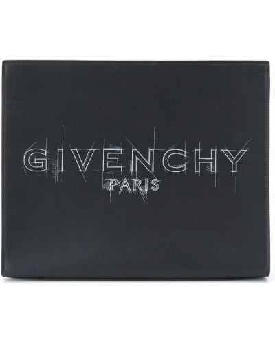 Czarny torba sprzęgło z prawdziwej skóry z kieszeniami Givenchy