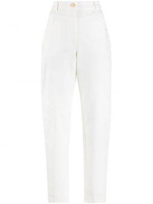 С завышенной талией хлопковые белые брюки Alberta Ferretti