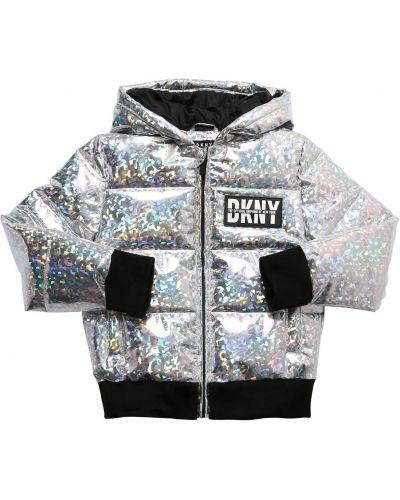Серебряная дутая куртка с капюшоном с манжетами Dkny