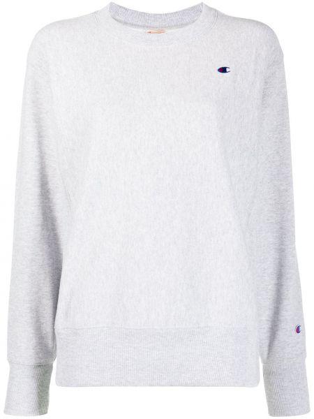 Хлопковый серый свитшот с вышивкой с манжетами Champion