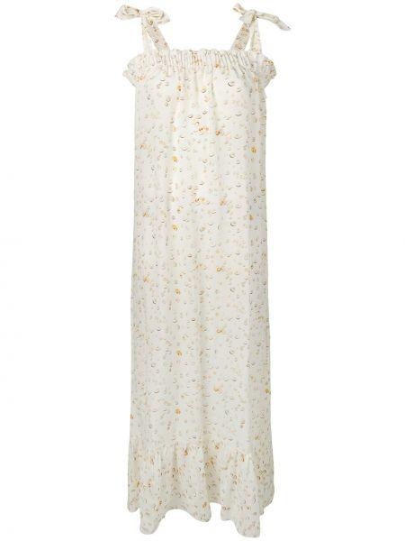Шелковое платье макси с оборками без рукавов с вырезом Tara Matthews
