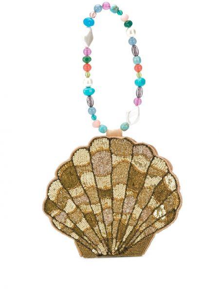 Złota torebka z haftem Rixo