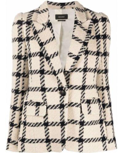 Однобортный удлиненный пиджак твидовый в клетку Isabel Marant