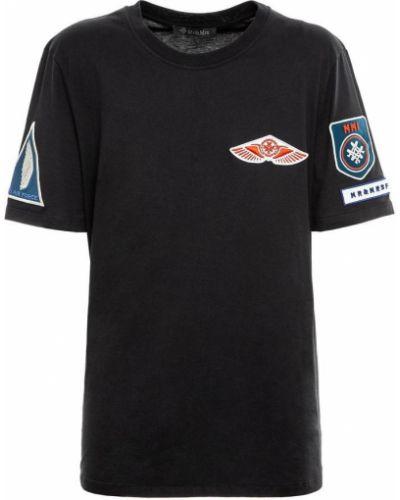 Czarny t-shirt krótki rękaw z haftem Mr&mrs Italy