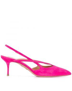 Туфли на каблуке с острым носком замшевые Aquazzura
