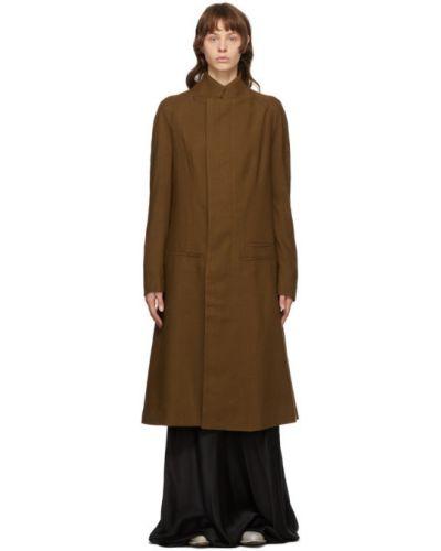 Шерстяное черное длинное пальто с воротником с рукавом реглан Haider Ackermann