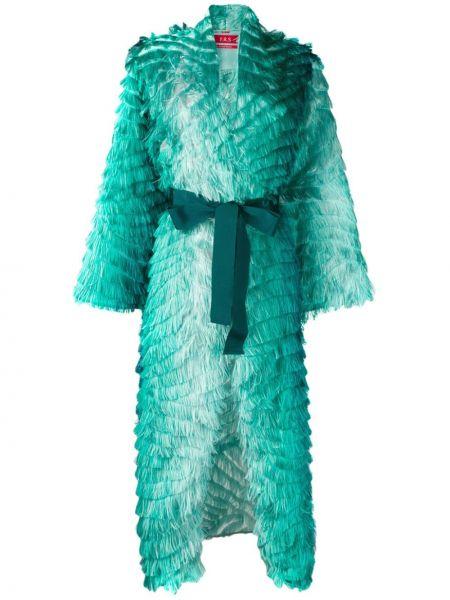 С рукавами синее шелковое платье с запахом F.r.s. For Restless Sleepers
