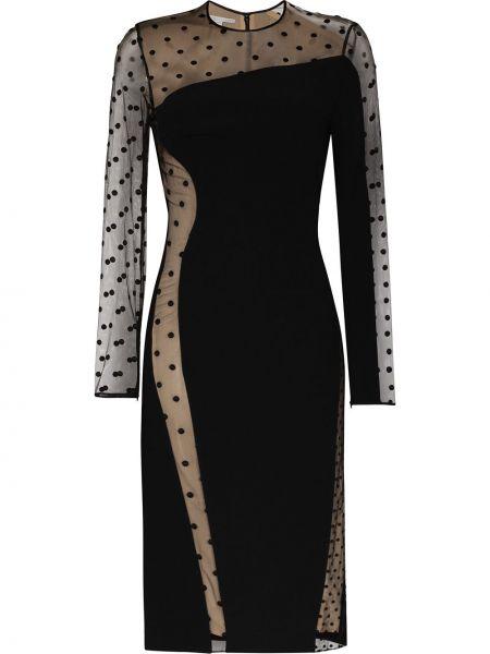 Черное платье миди с длинными рукавами в горошек Stella Mccartney