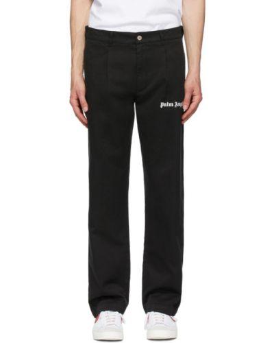 Bawełna bawełna czarny klasyczne spodnie z paskiem Palm Angels