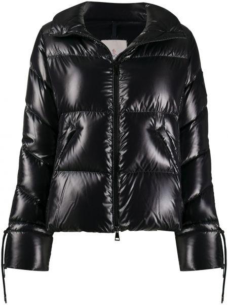 Z rękawami prosto czarny długa kurtka z kieszeniami Moncler