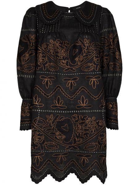 С рукавами черное платье с вышивкой с воротником Vita Kin