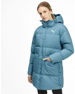 Пуховая теплая синяя куртка с капюшоном Puma