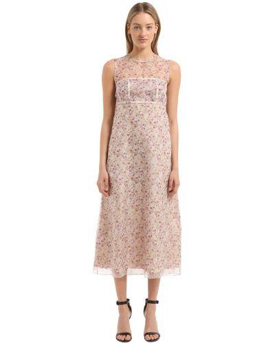 Платье в цветочный принт - розовое Calvin Klein Collection