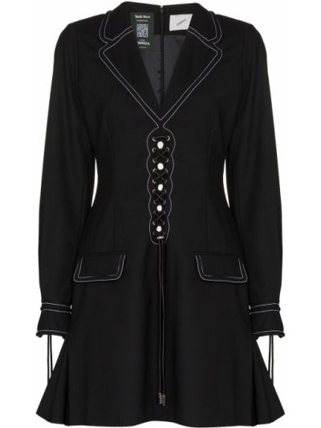 Czarna sukienka mini koronkowa wełniana Coperni