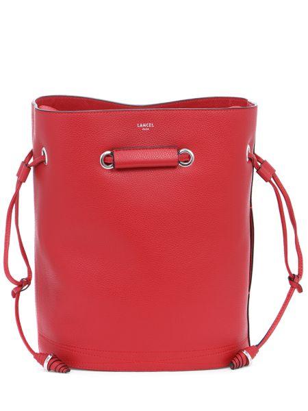 Кожаная красная кожаная сумка на молнии с карманами Lancel