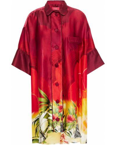 Шелковая красная рубашка с карманами F.r.s For Restless Sleepers