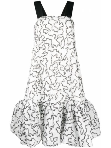 Белое расклешенное платье без рукавов с вырезом Stine Goya