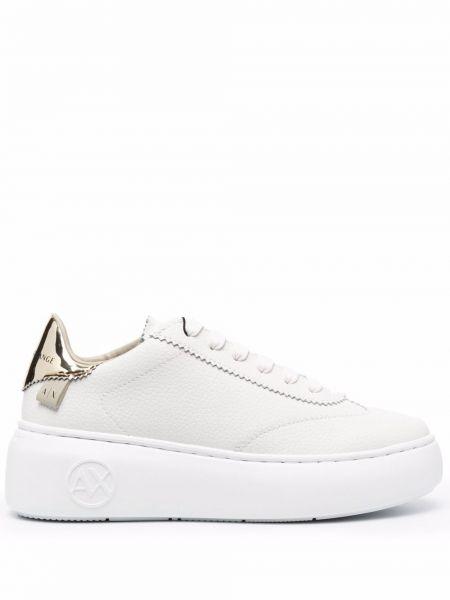 Buty sportowe skorzane - białe Armani Exchange