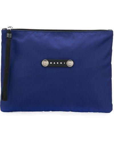 Niebieski torba sprzęgło z prawdziwej skóry z łatami Marni