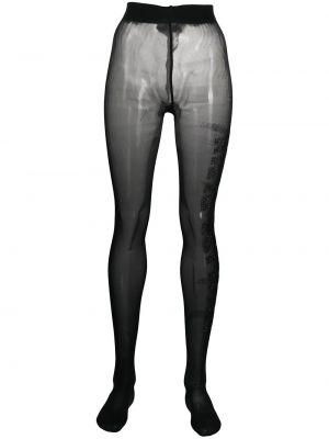 Нейлоновые черные колготки со стразами Philipp Plein
