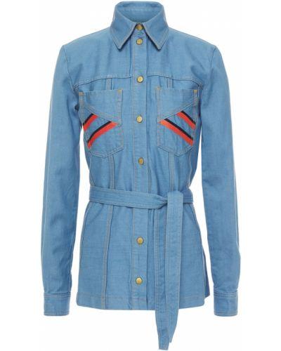 Niebieska koszula jeansowa bawełniana w paski Victoria Victoria Beckham