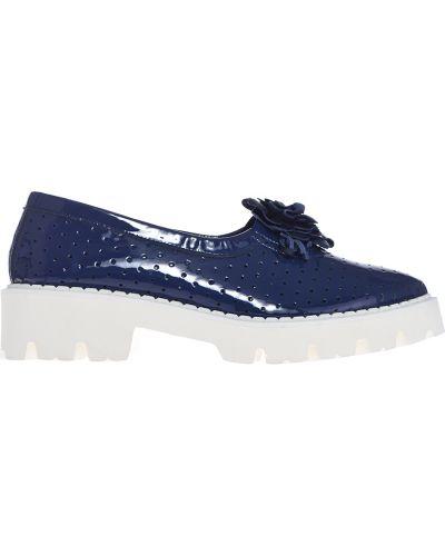 Кожаные туфли лаковые синий Baldinini