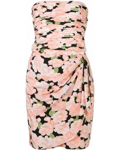 Облегающее платье шелковое с цветочным принтом Loris Azzaro Vintage