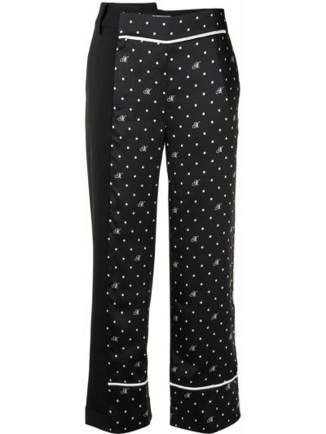 Шерстяные черные брюки на молнии Monse