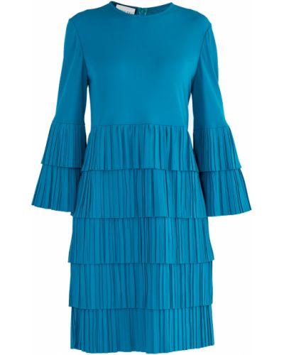 Платье миди со складками с вырезом Gucci