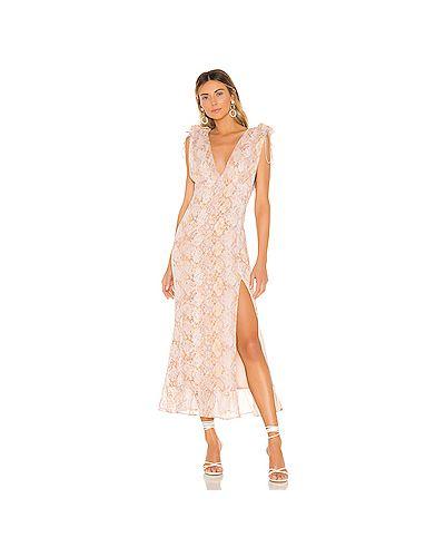 Платье макси розовое на бретелях Majorelle