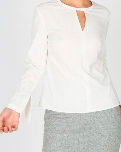 Блузка с длинным рукавом классическая белая Glam Casual