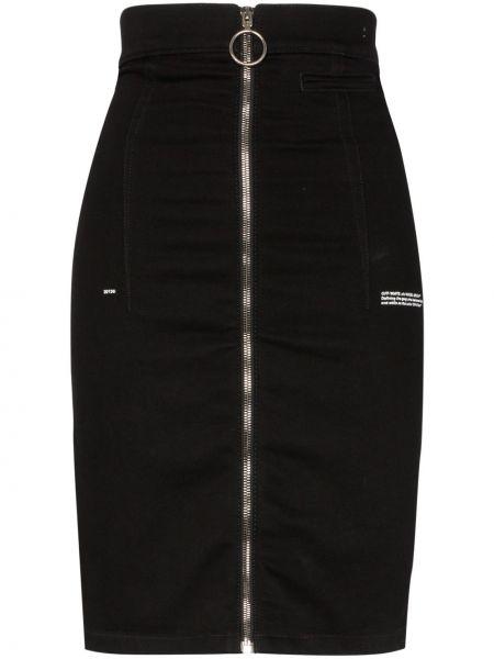 Джинсовая юбка с завышенной талией с надписью Off-white