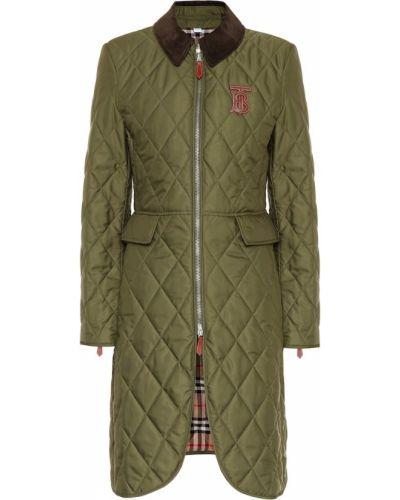 Длинное пальто стеганое зеленое Burberry