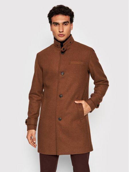 Płaszcz wełniany - brązowy Jack&jones Premium