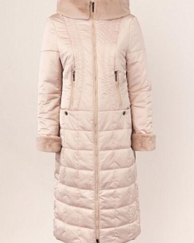 Приталенное бежевое пальто с капюшоном Dizzyway