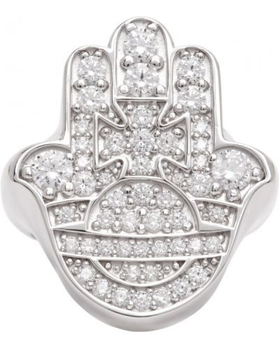 Biały pierścionek z cyrkoniami srebrny Vivienne Westwood