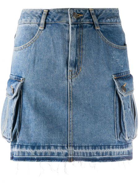 Хлопковая синяя джинсовая юбка с поясом с заплатками Sjyp