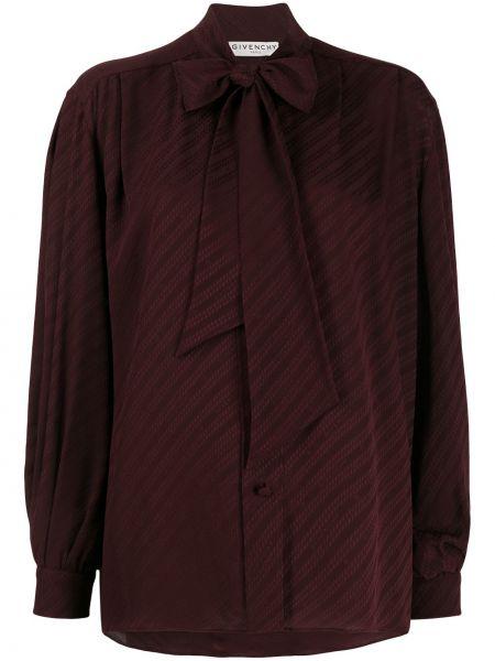 Z rękawami jedwab burgundia bluzka Givenchy