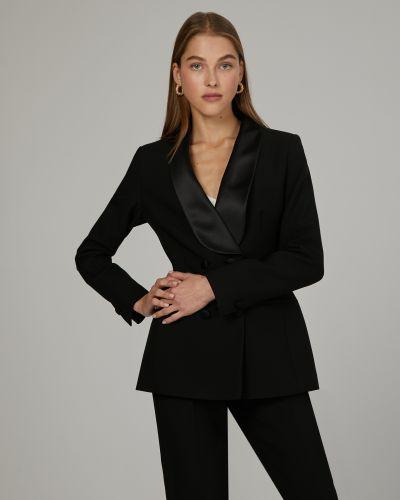 Приталенный черный пиджак на пуговицах 12storeez