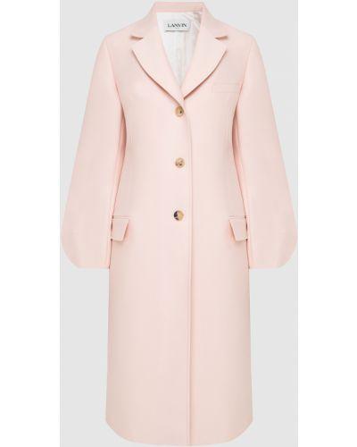 Розовое шерстяное пальто Lanvin
