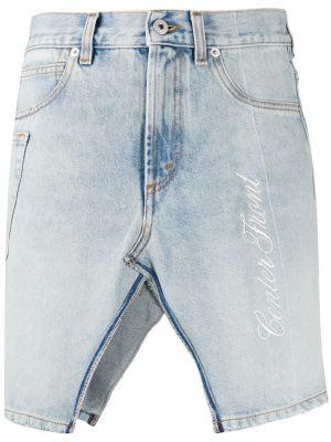 Классическая джинсовая юбка с вышивкой с разрезом с поясом Heron Preston