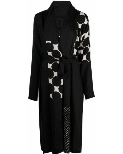 Прямое черное длинное пальто с длинными рукавами Masnada