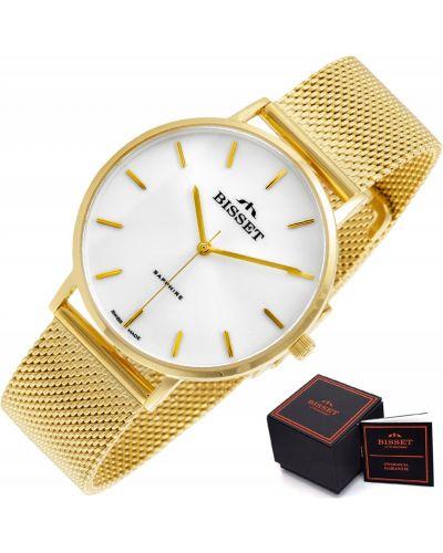 Żółty klasyczny złoty szwajcarski zegarek Bisset