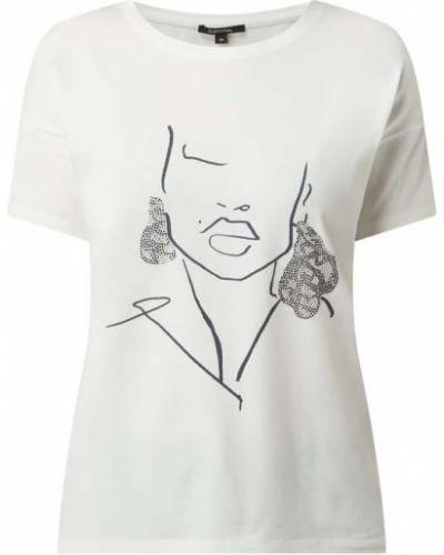 Biały t-shirt bawełniany z printem Comma