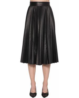 Плиссированная юбка миди кожаная Red Valentino