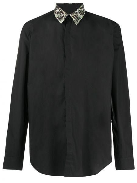 Koszula z długim rękawem klasyczna czarna Fendi