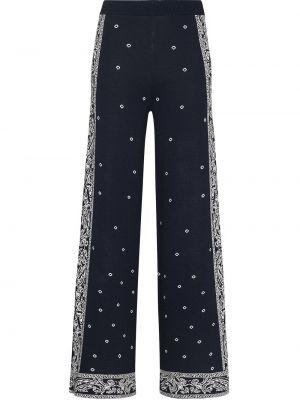 Синие широкие брюки из вискозы с завышенной талией Staud