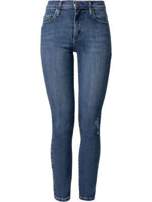Синие укороченные джинсы с нашивками Nobody Denim
