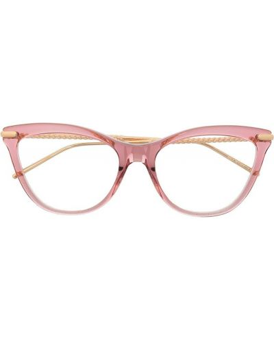 Розовые очки металлические оверсайз прозрачные Boucheron Eyewear